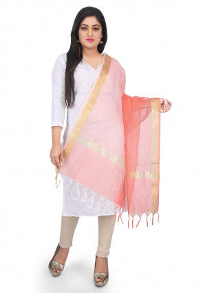 Ghicha Woven Chanderi Cotton Dupatta in Peach