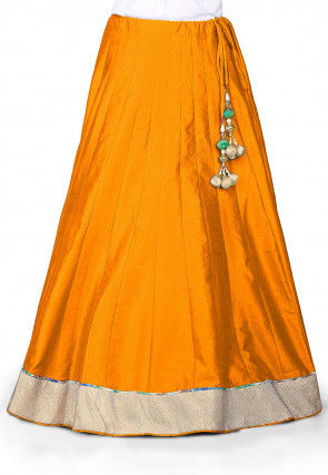 Plain Dupion Silk Skirt in Dark Orange
