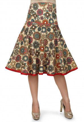 Printed Bhagalpuri Silk Skirt in Beige