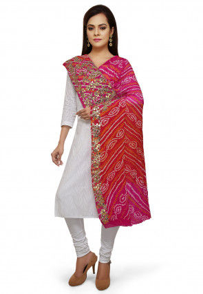 Bandhej Printed Pure Chinon Crepe Dupatta in Red and Fuchsia