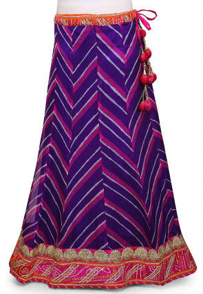 Leheriya Printed Pure Kota Silk Skirt in Purple