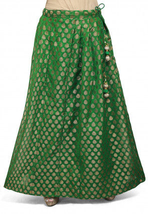 Woven Chanderi Silk Skirt in green