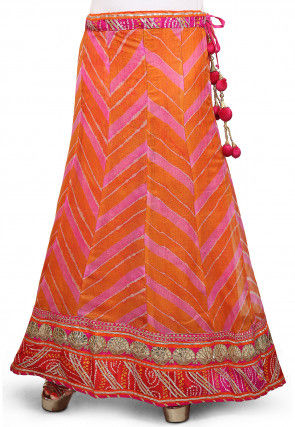 Leheriya Printed Pure Kota Silk Skirt in orange