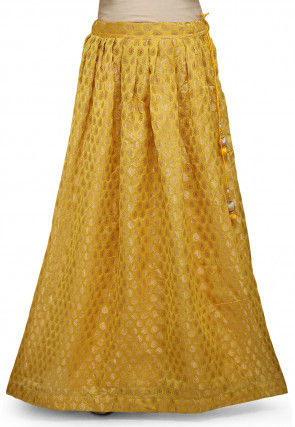 Woven Chanderi Silk Skirt in Yellow