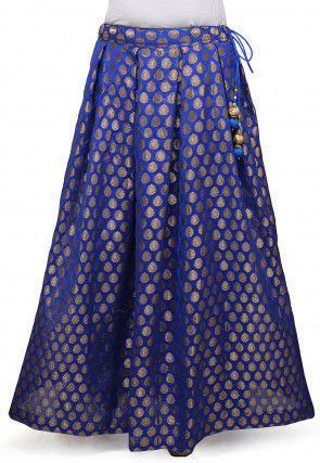 Woven Chanderi Silk Skirt in Blue