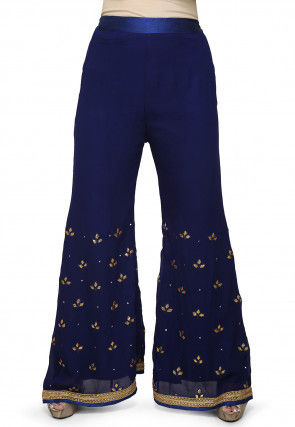 Embroidered Georgette Palazzo in Blue