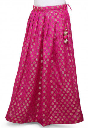Woven Chanderi Silk Skirt in Fuchsia