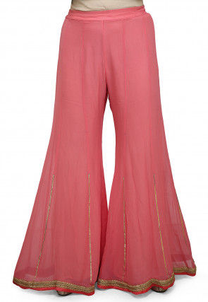Embroidered Georgette Palazzo in Pink