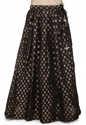 Woven Chanderi Silk Skirt in Black
