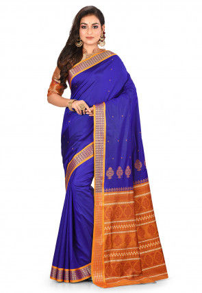 Bomkai Saree in Royal Blue