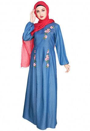 Box Pleated Embroidered Denim Closed Abaya in Blue