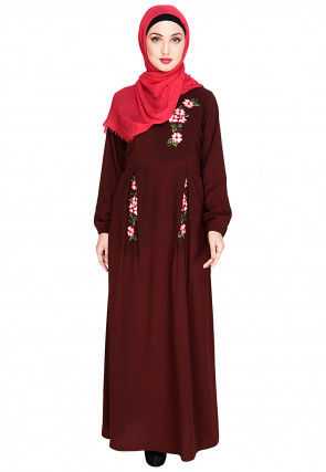 Box Pleated Embroidered Nida Closed Abaya in Brown