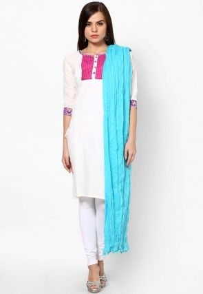 Plain Cotton Dupatta in Turquoise