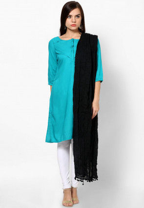 Plain Cotton Dupatta in Black