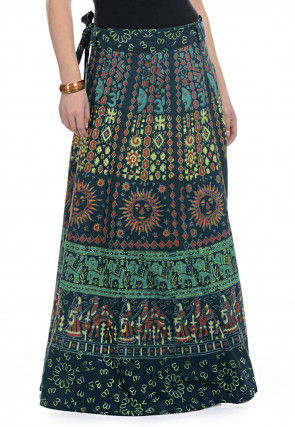 Printed Cotton Wrap Around Long Skirt in Blue