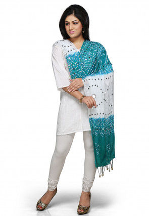 Embroidered Cotton Dupatta in Turquoise and White