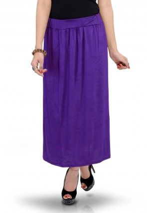 Plain Cotton Lycra Skirt in Purple
