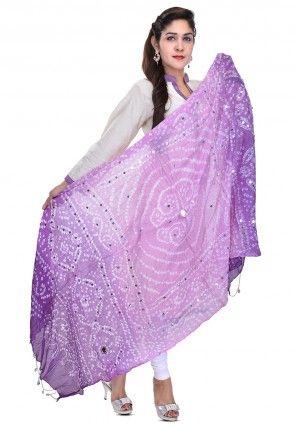 Bandhani Printed Cotton Dupatta in Purple