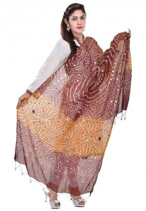 Bandhani Printed Cotton Dupatta in Maroon and Mustard