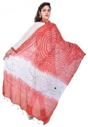 Bandhani Printed Cotton Dupatta in Red and White
