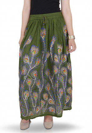 Printed Cotton Long Skirt in Olive Green