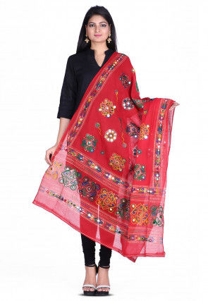 Kantha Embroidered Cotton Dupatta in Red