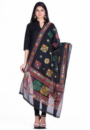 Kantha Embroidered Cotton Dupatta in Black