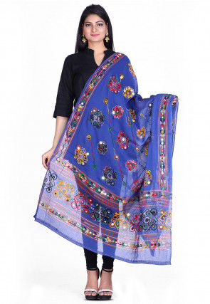 Kantha Embroidered Cotton Dupatta in Blue