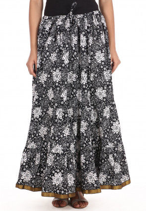 Printed Cotton Long Skirt in Black and White