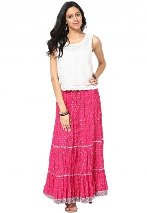 Printed Cotton Long Skirt in Fuchsia