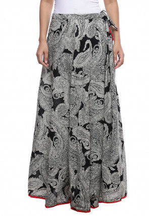 Paisley Printed Cotton Skirt in Black