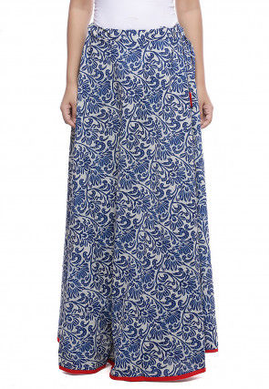 Block Printed Cotton Skirt in Blue
