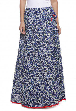 Block Printed Cotton Skirt in Blue and Off White