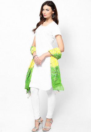 Bandhej Cotton Dupatta in Yellow and Green