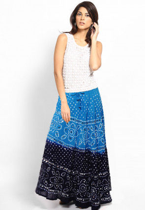 Embroidered Cotton Long Skirt In Blue