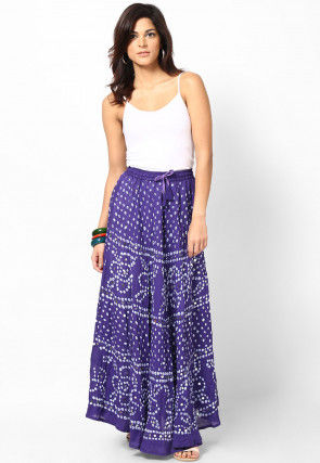 Embroidered Cotton Long Skirt In Purple