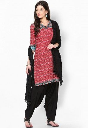Cotton Patiala with Dupatta in Black