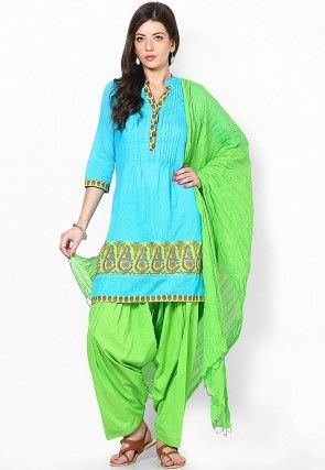 Cotton Patiala with Dupatta in Light Green