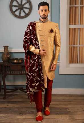 Brocade Asymmetric Sherwani in Golden