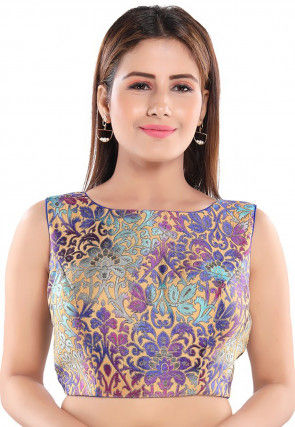 Brocade Blouse in Beige and Purple