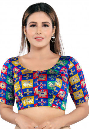 Brocade Blouse in Blue and Multicolor