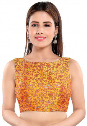 Brocade Blouse in Mustard
