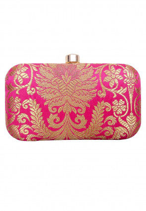 Brocade Box Clutch in Fuchsia