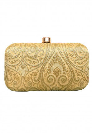 Brocade Box Clutch in Light Beige