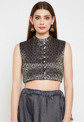 Brocade Crop Top in Navy Blue
