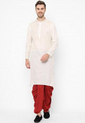 Brocade Dhoti Kurta in Off White