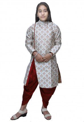 Brocade Dhoti Kurta Set in Off White