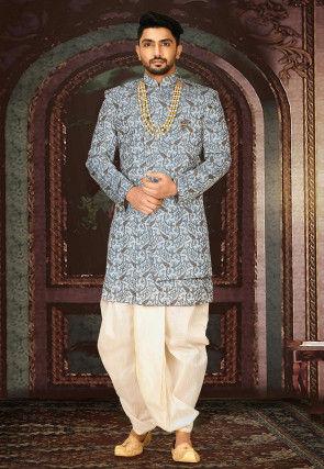 Brocade Dhoti Sherwani in Grey