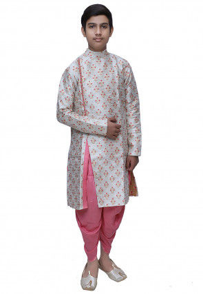 Brocade Dhoti Sherwani in Off White