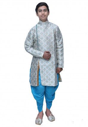 Brocade Dhoti Sherwani in Off White